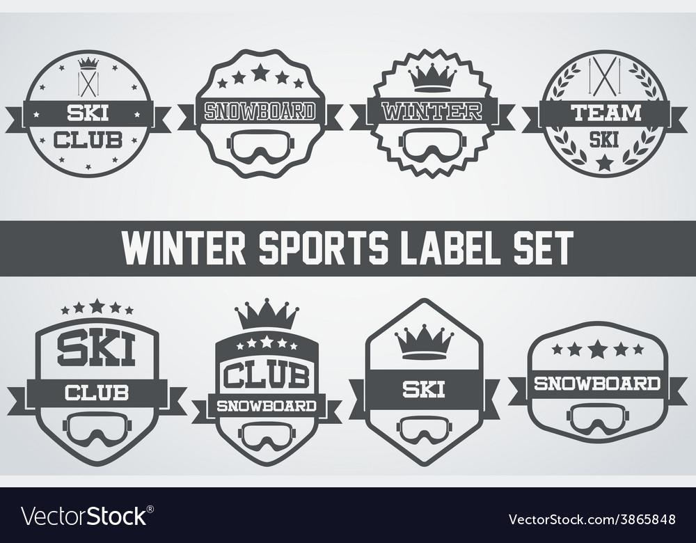 Set of vintage ice snowboarding or ski club badge vector