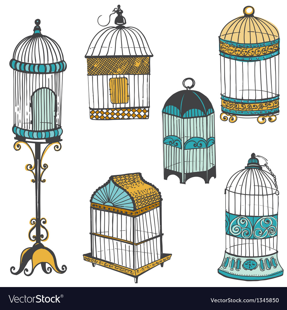 Birdcages collection vector