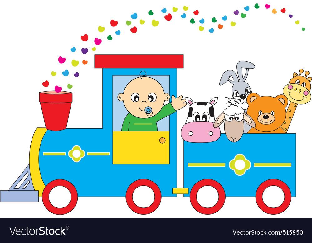 Childrens train animals vector