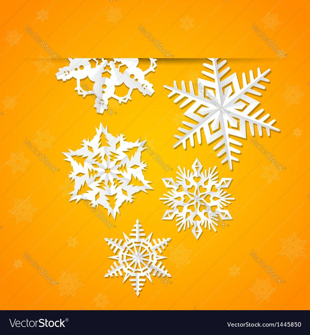 Paper origami christmas snowflake card vector