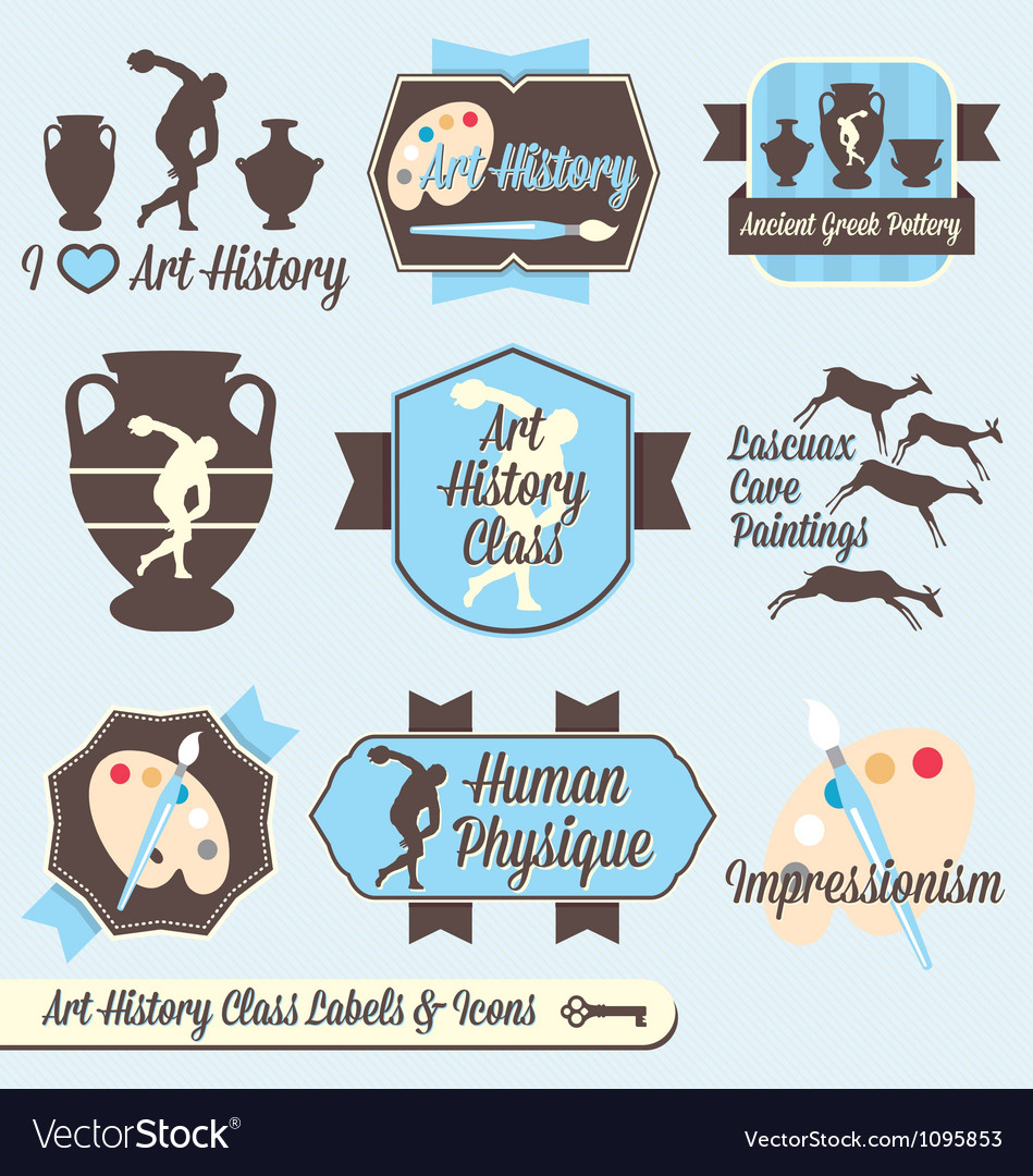 Vintage art history class labels and icons vector