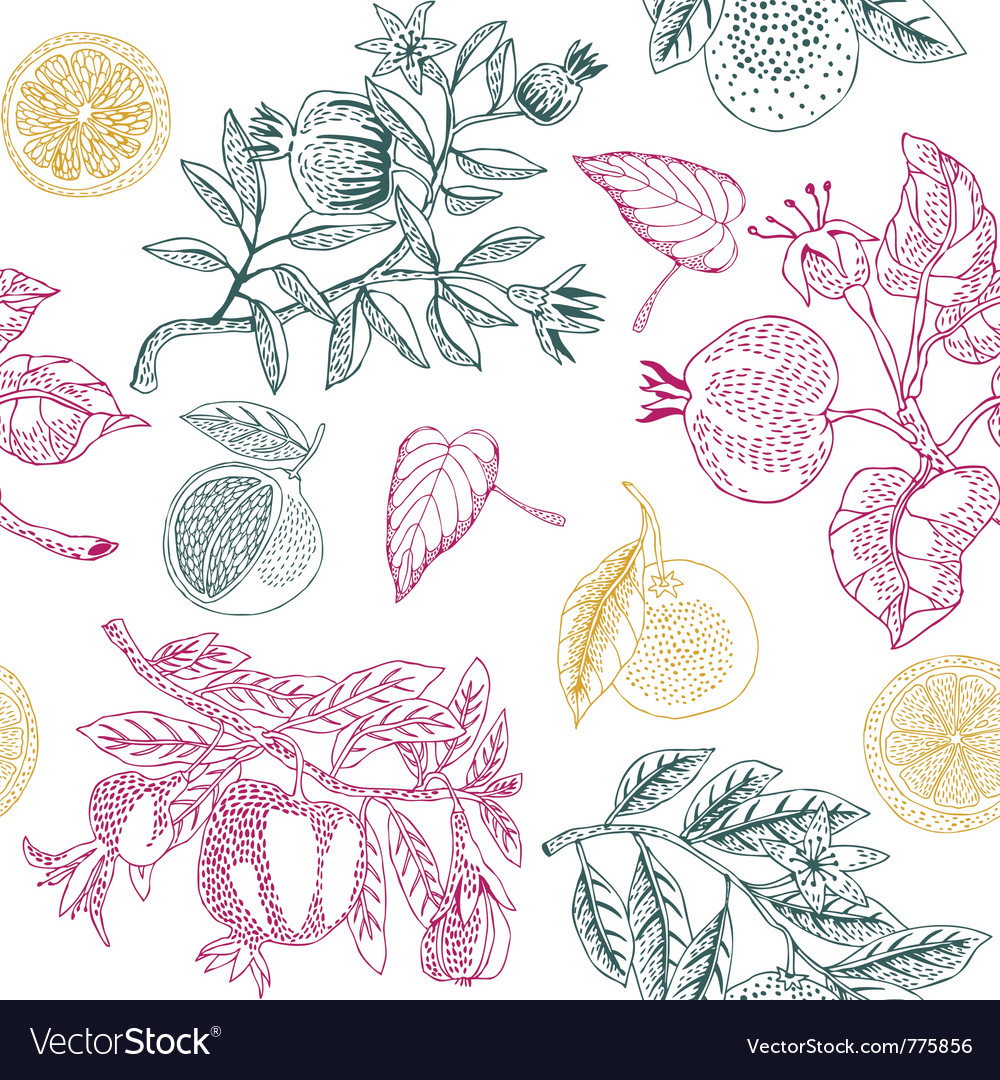 Nature lemon print vector