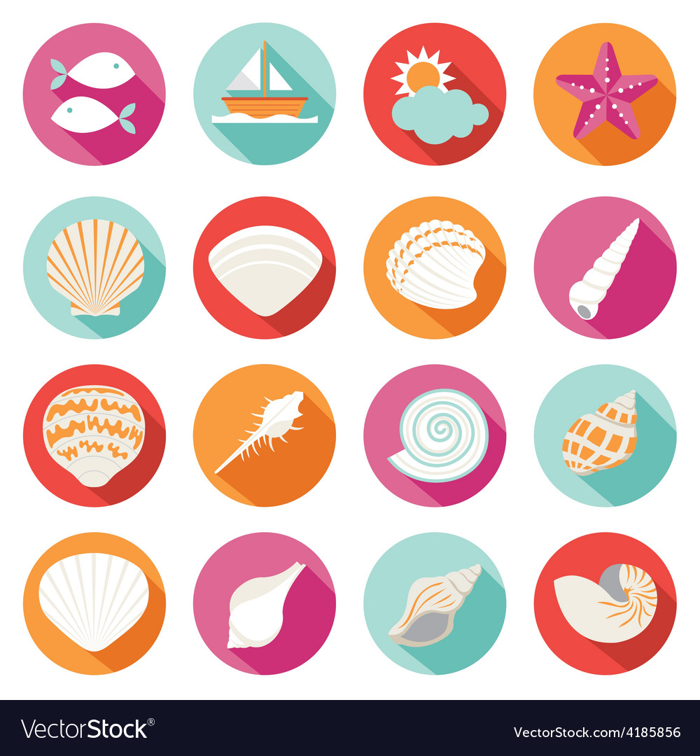 Sea shell flat and summer icons set vector