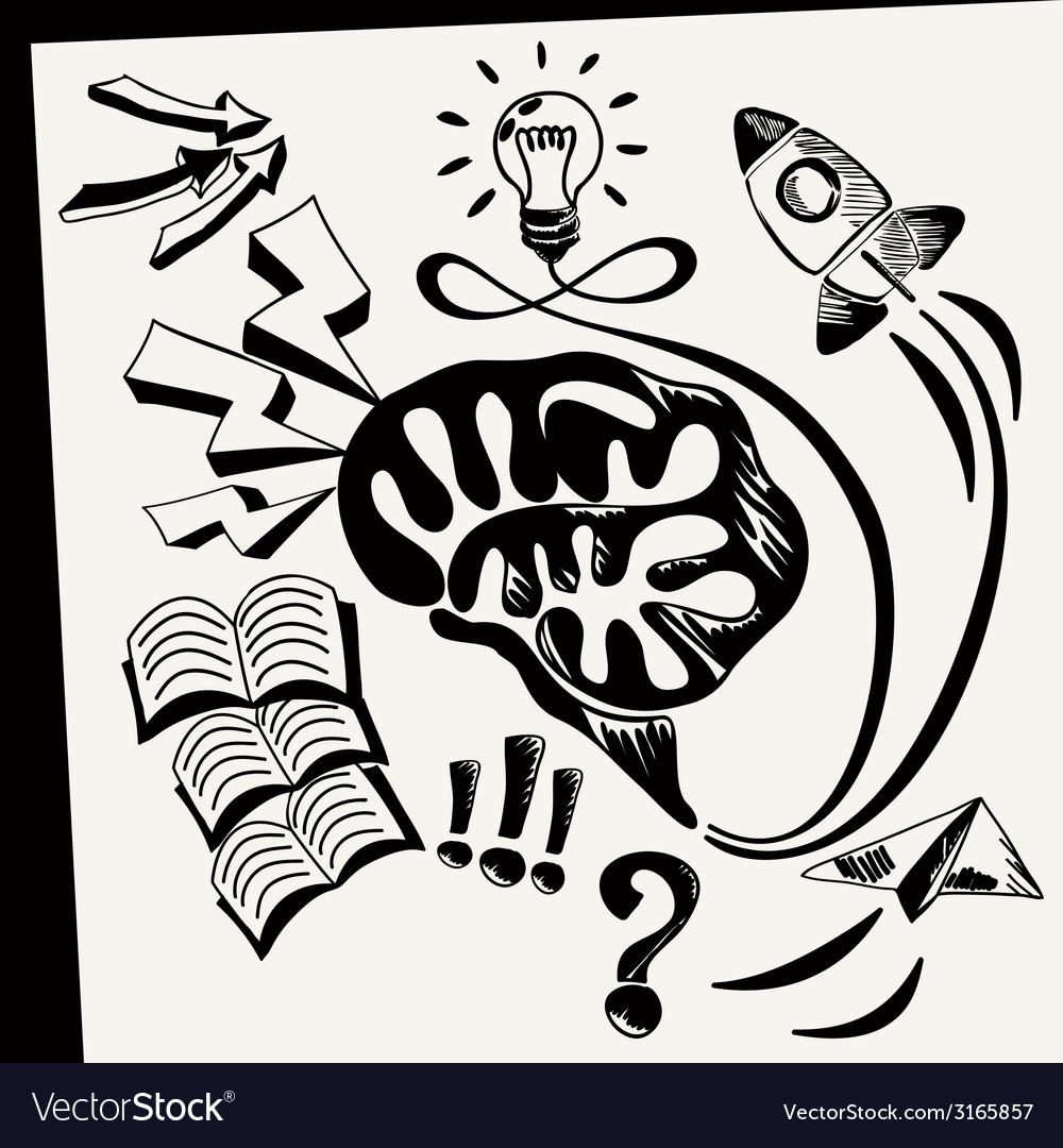 Sheet of paper with lightbulb brain books arrows vector