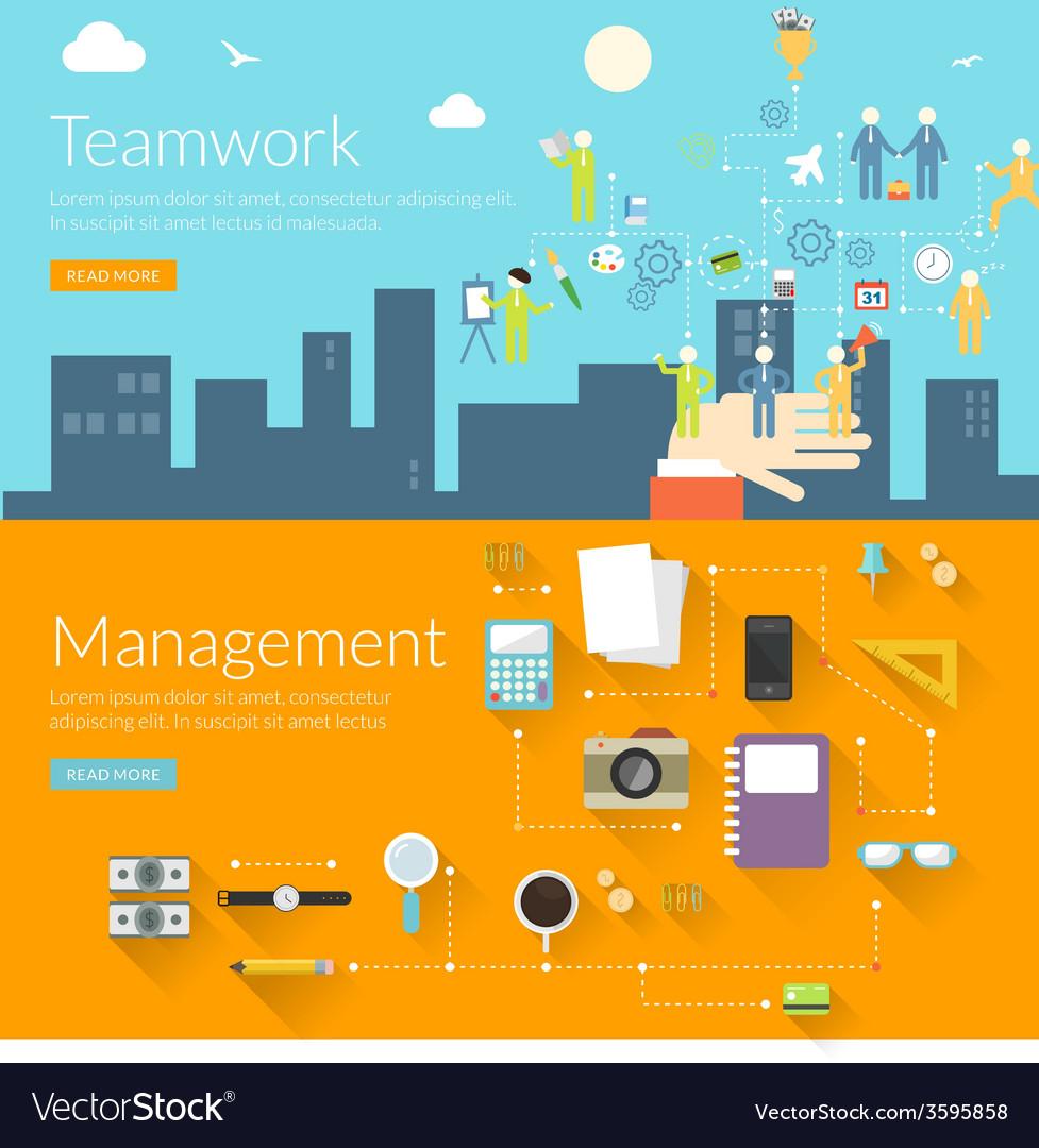 Flat design concept for teamwork and management vector