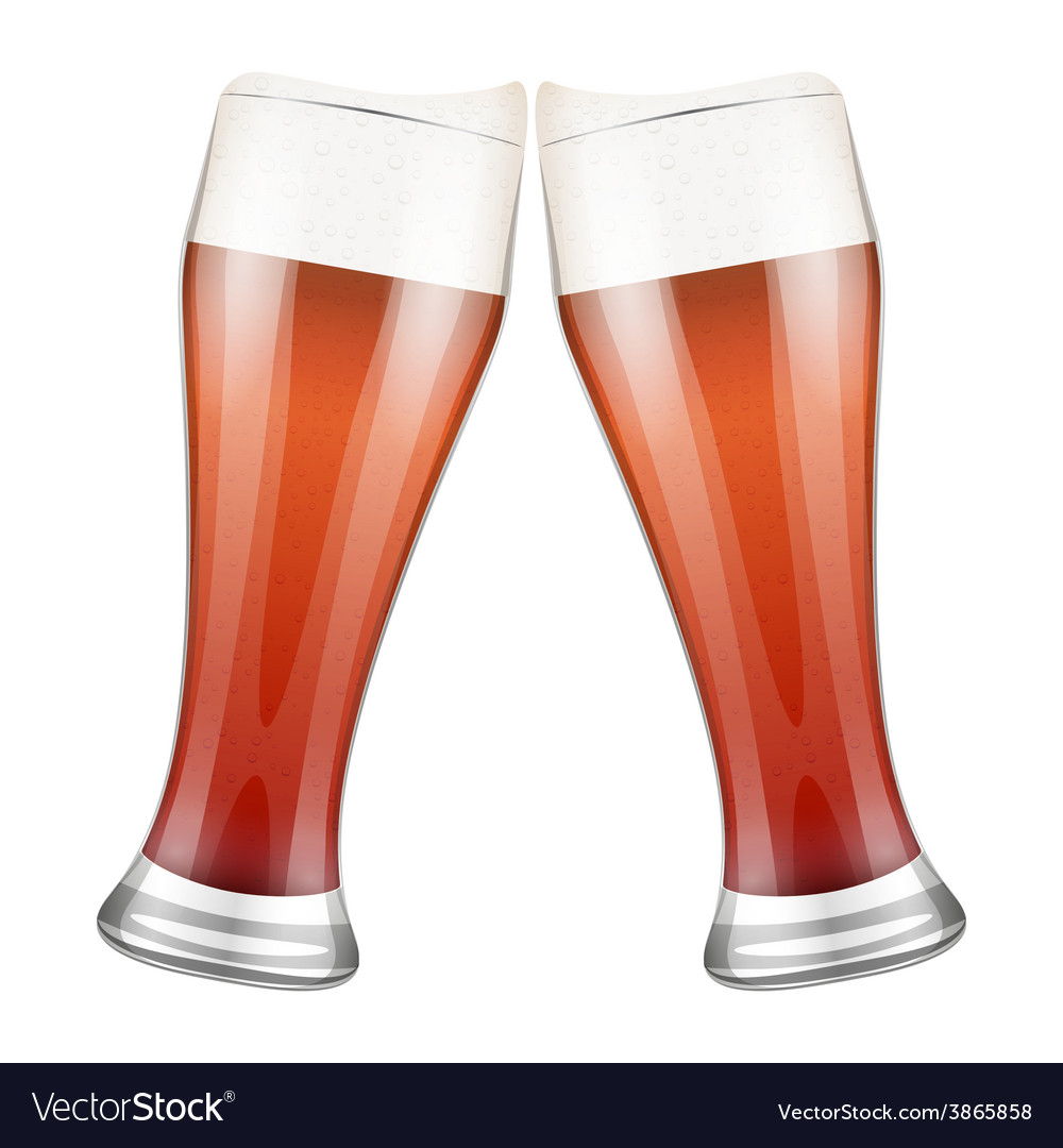 Two red beer glasses clink vector