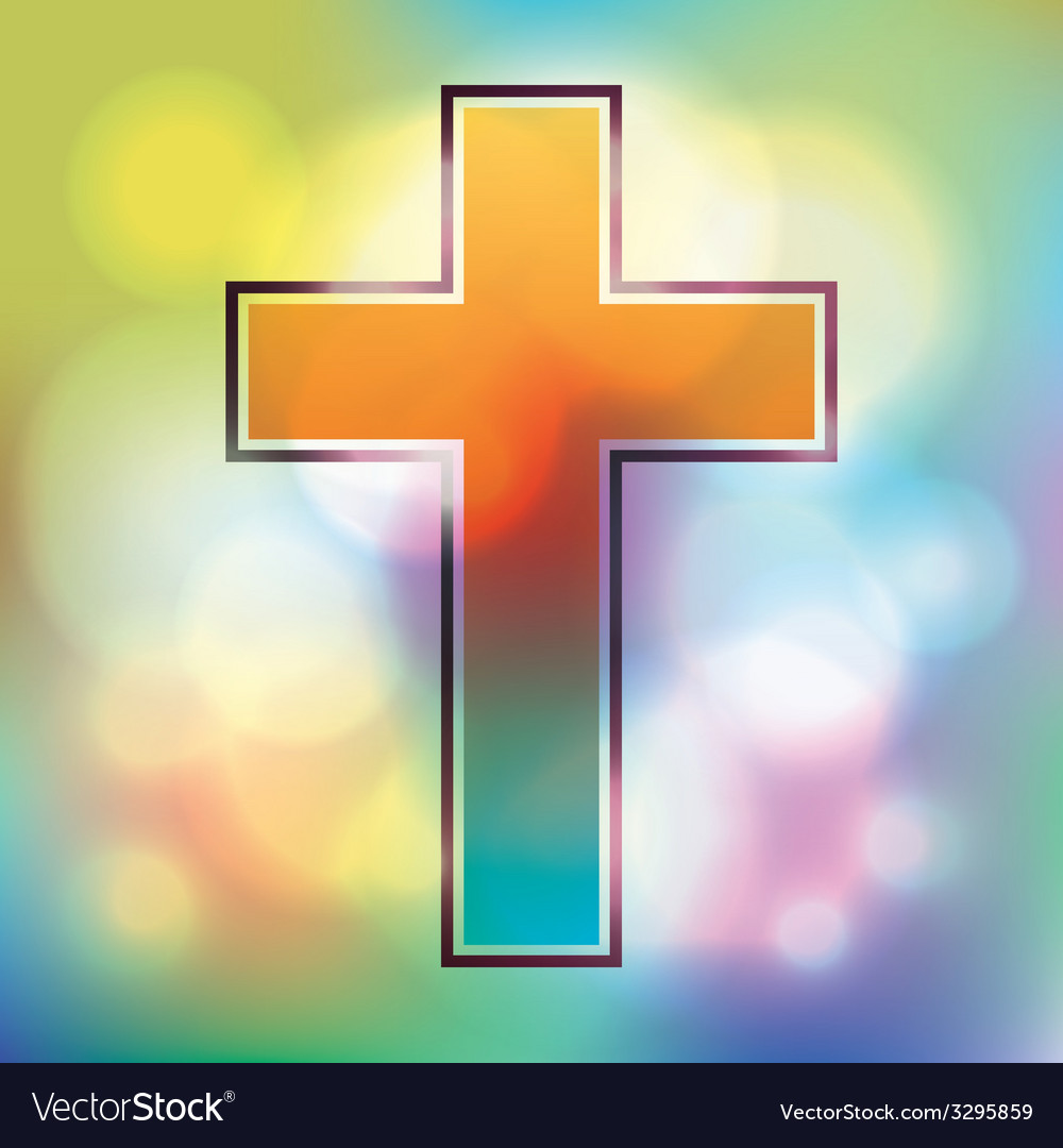 Colorful cross and bokeh lights vector