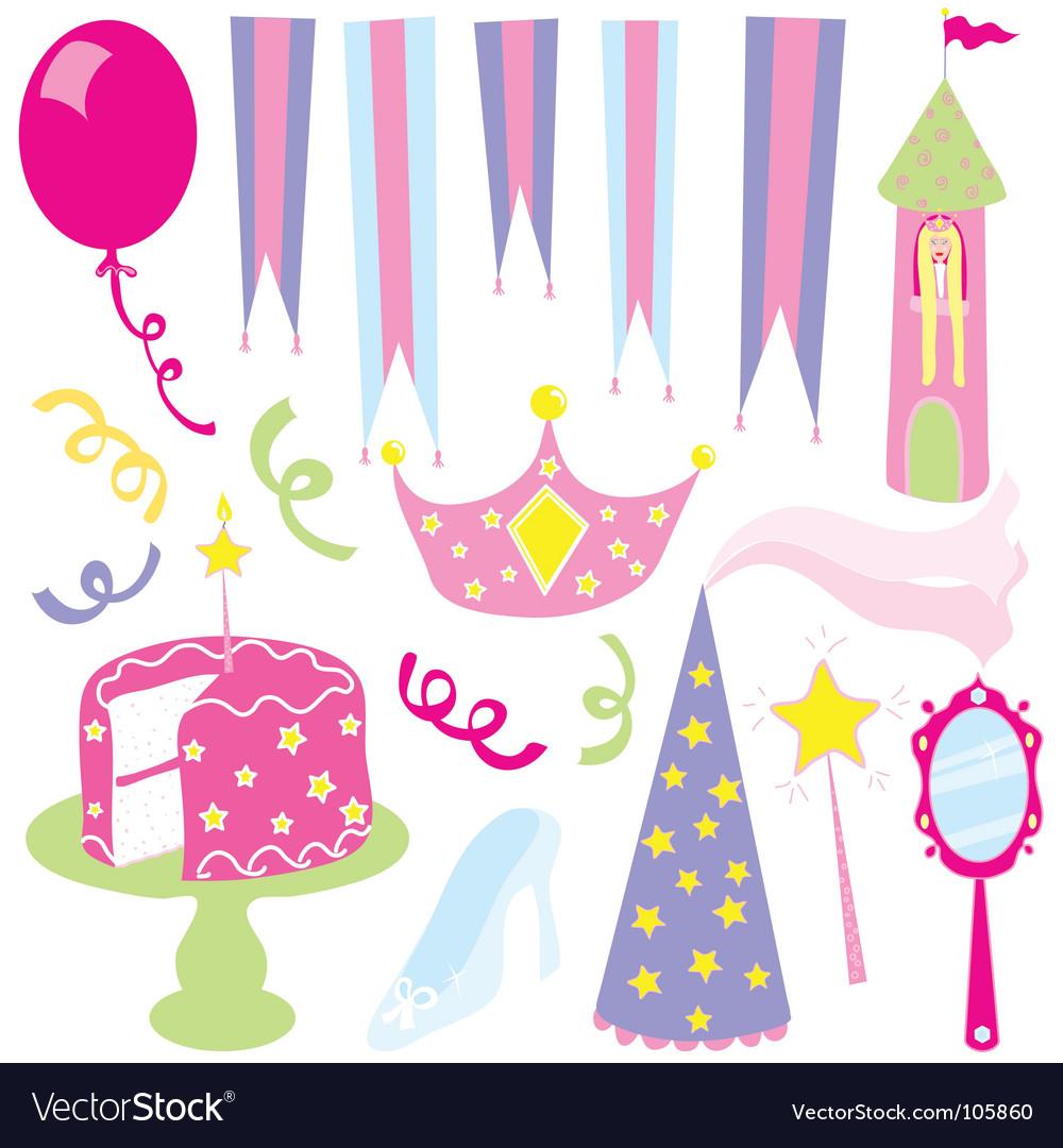 Girls princess party vector