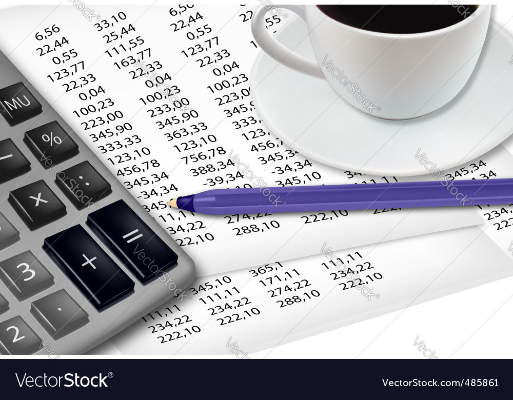 Calculator with coffee and pencil vector