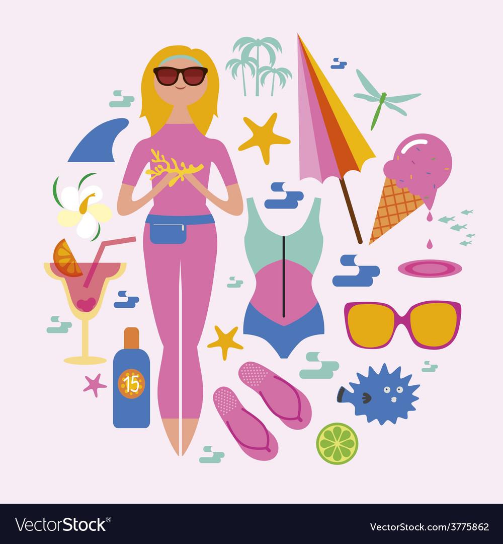 Fashionable holidays set vector