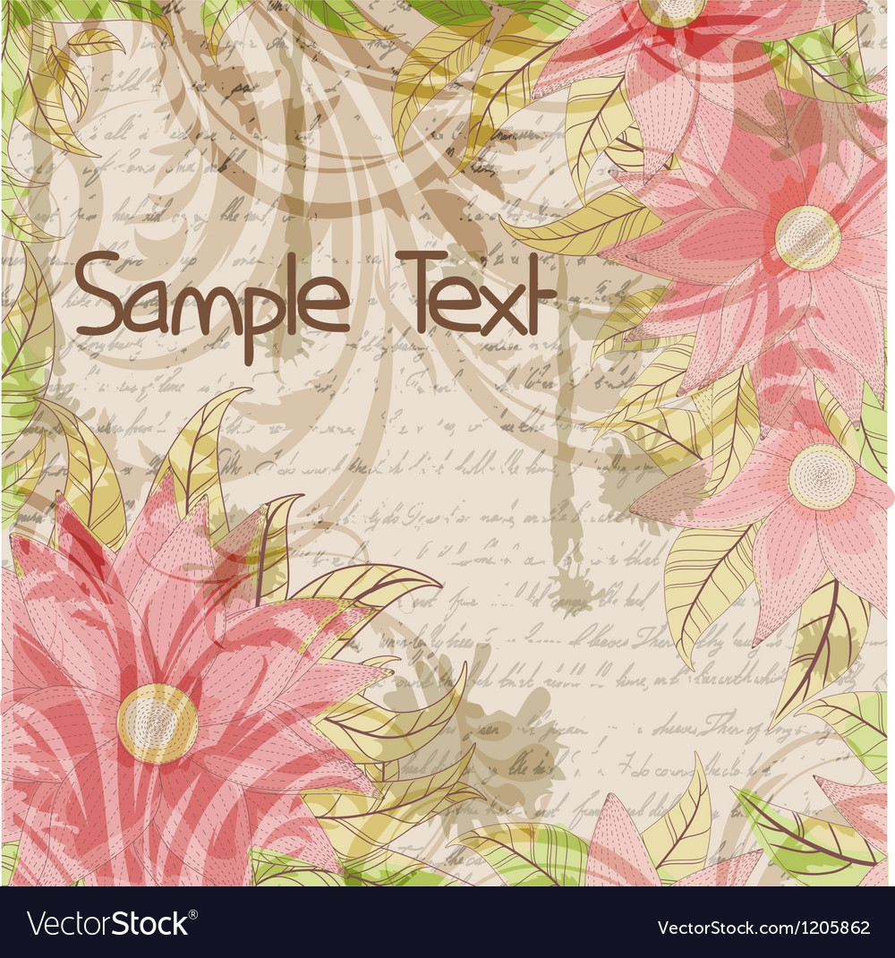 Floral grungy background with a handwriting and vector