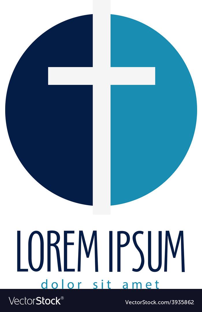 Religion logo design template crucifixion vector