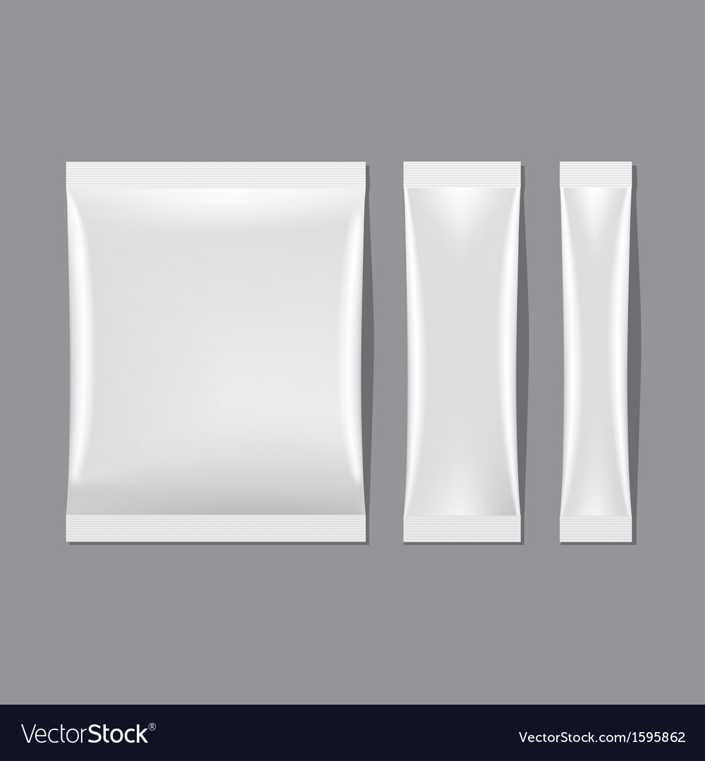Set of white blank sachet packaging vector