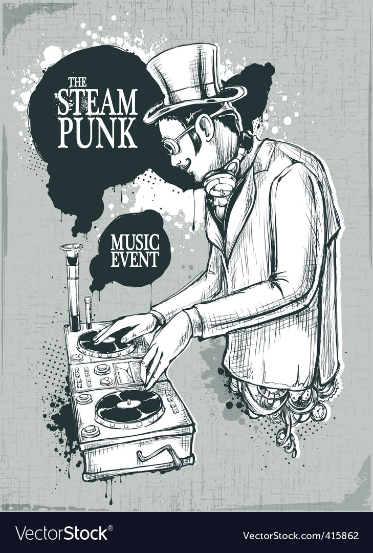 Steam punk musical poster vector