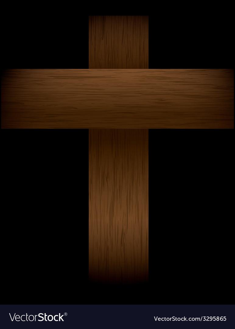 Wooden cross in the shadows vector