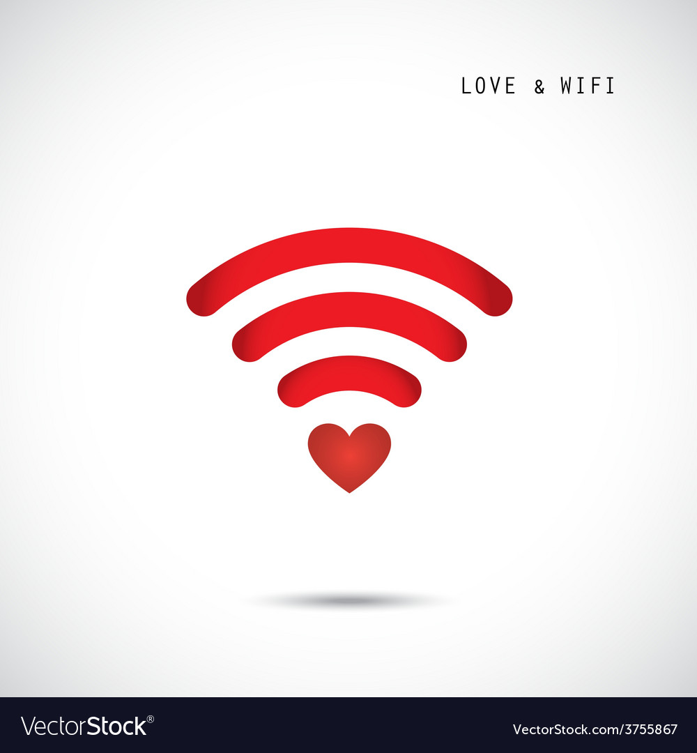 Heart shape and wifi sign vector