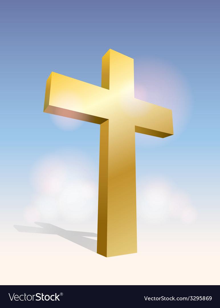 Golden cross in the sky vector