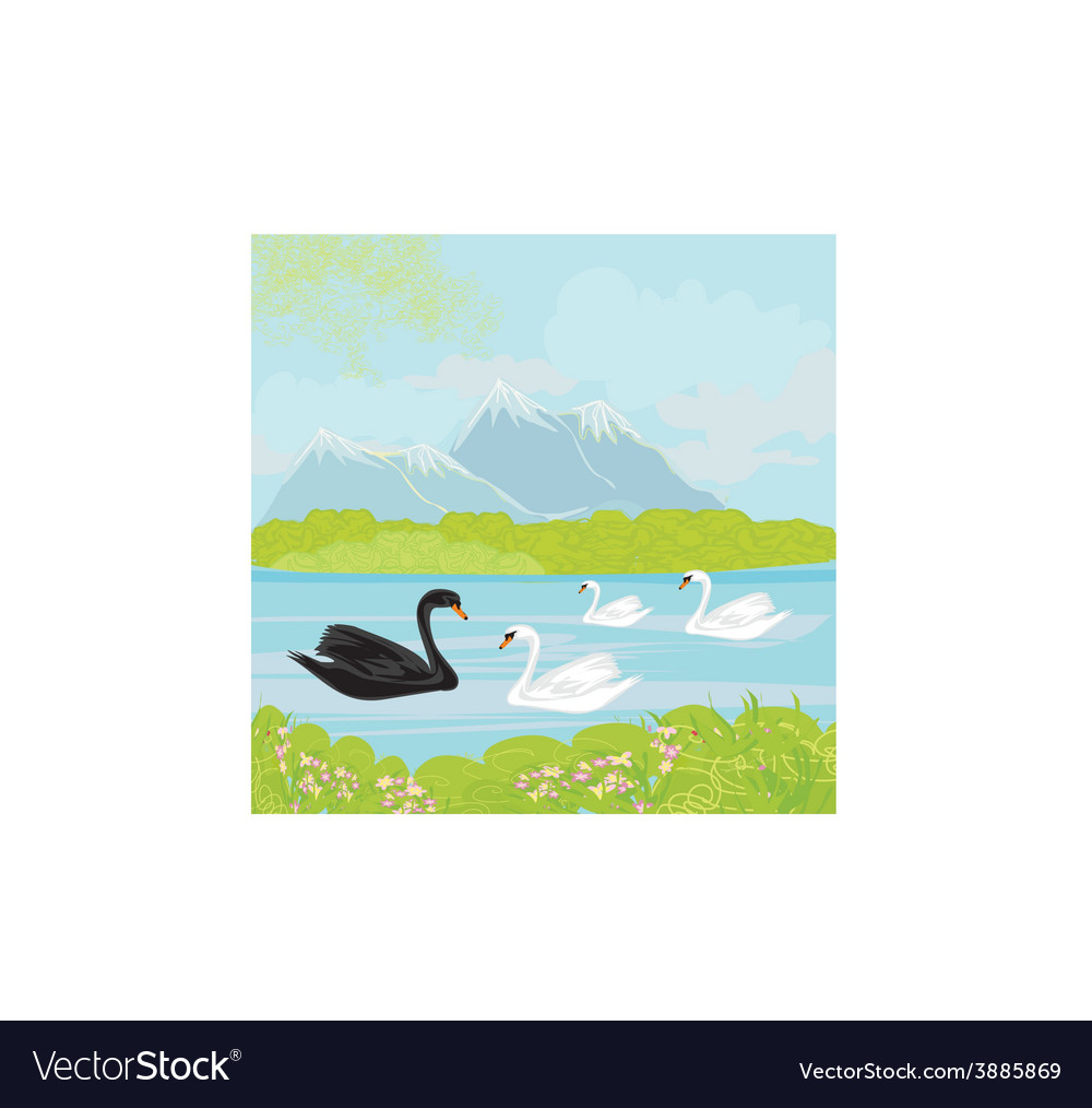 Landscape with mountains and swans on the lake vector