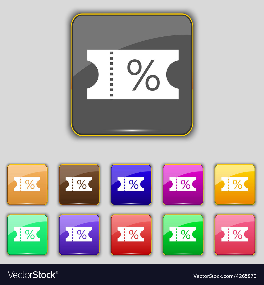Ticket discount icon sign set with eleven colored vector