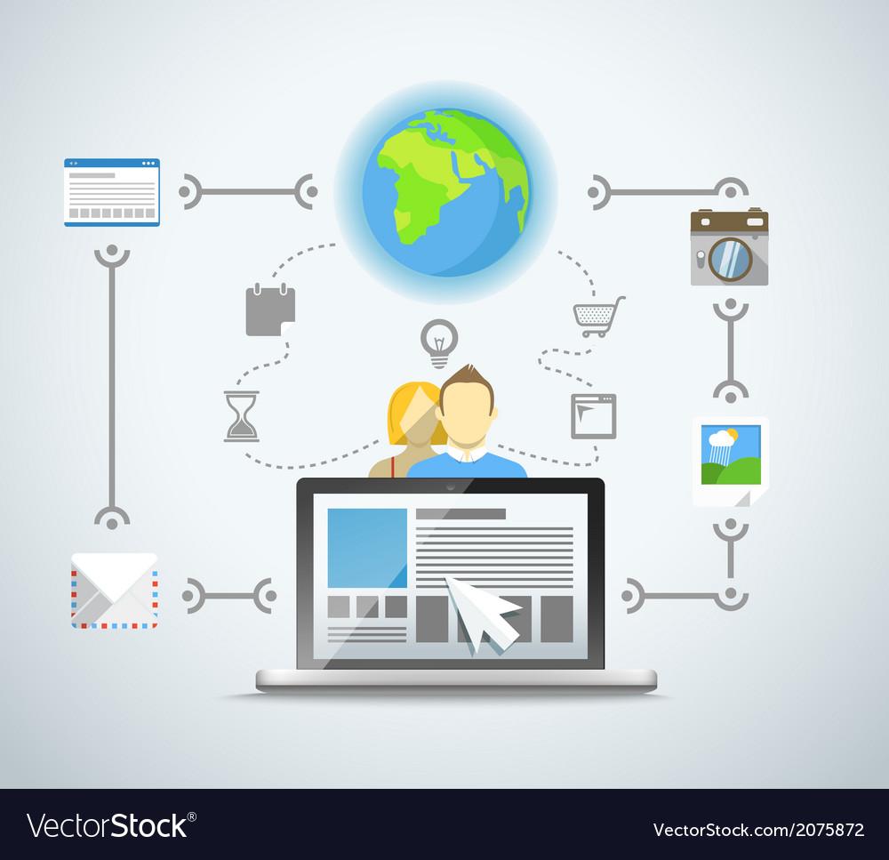 Abstract modern network scheme vector