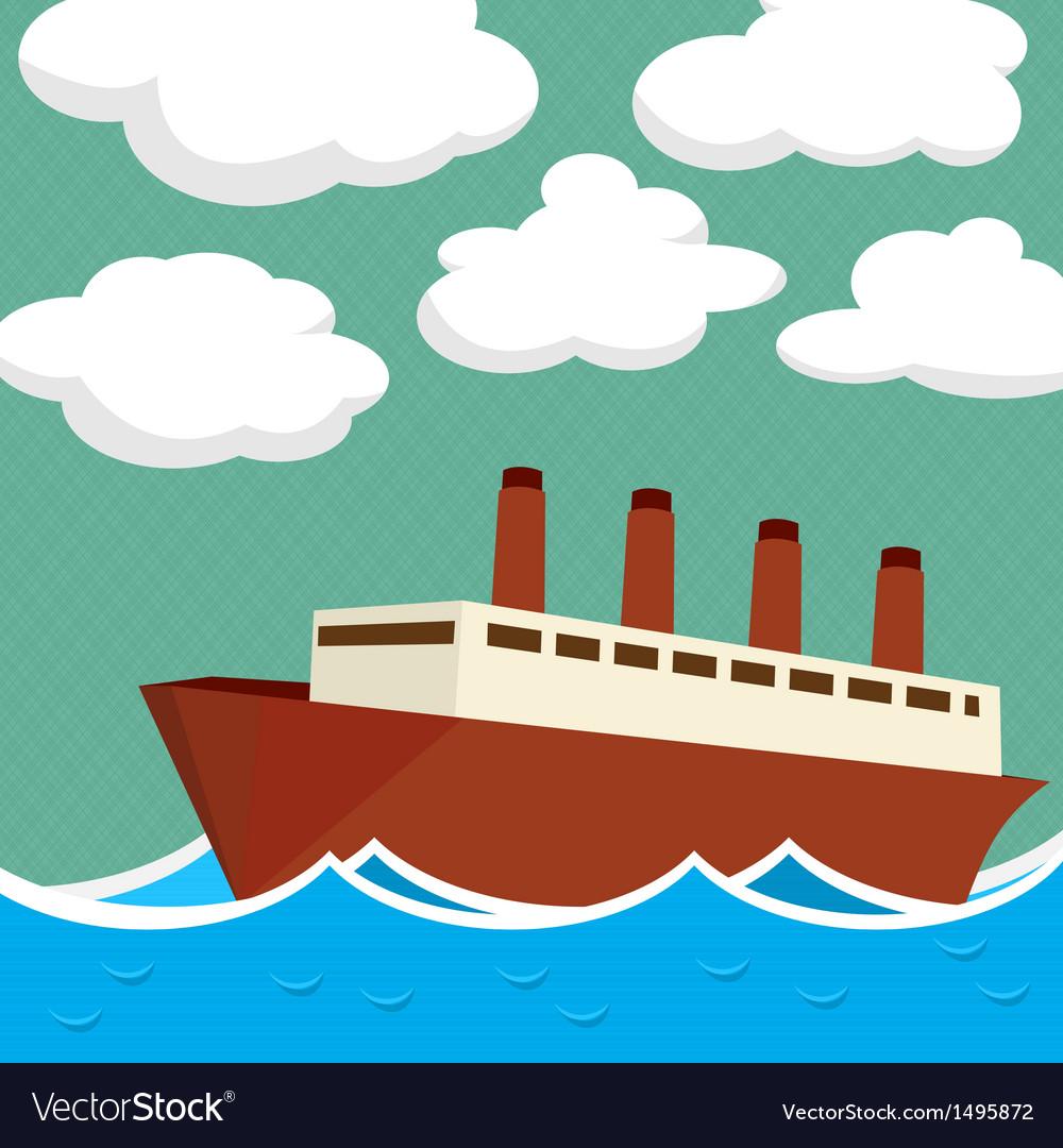 Steam ship vector