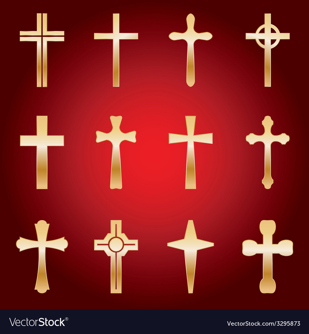 12 golden crosses vector