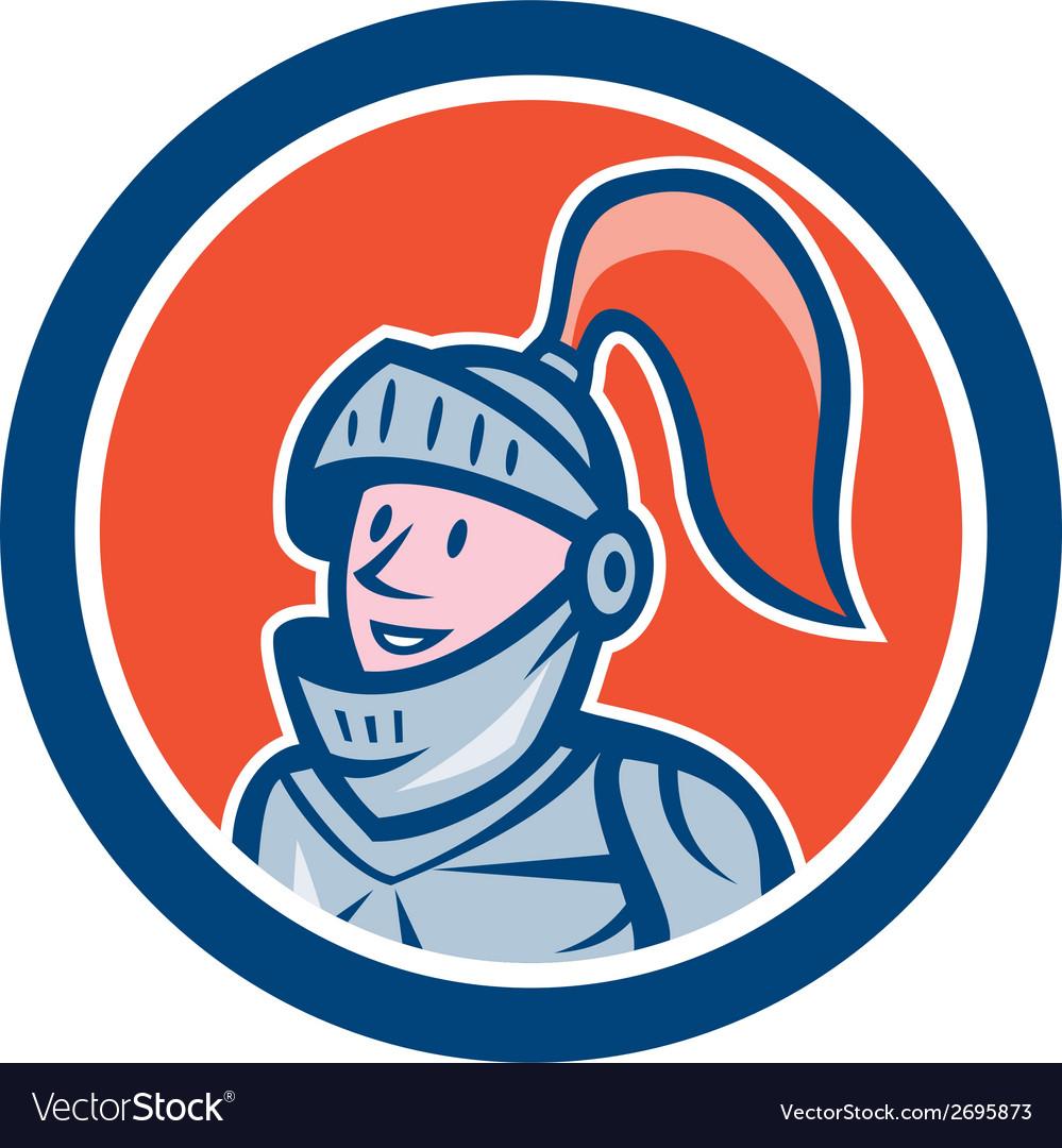 Knight head armor circle cartoon vector