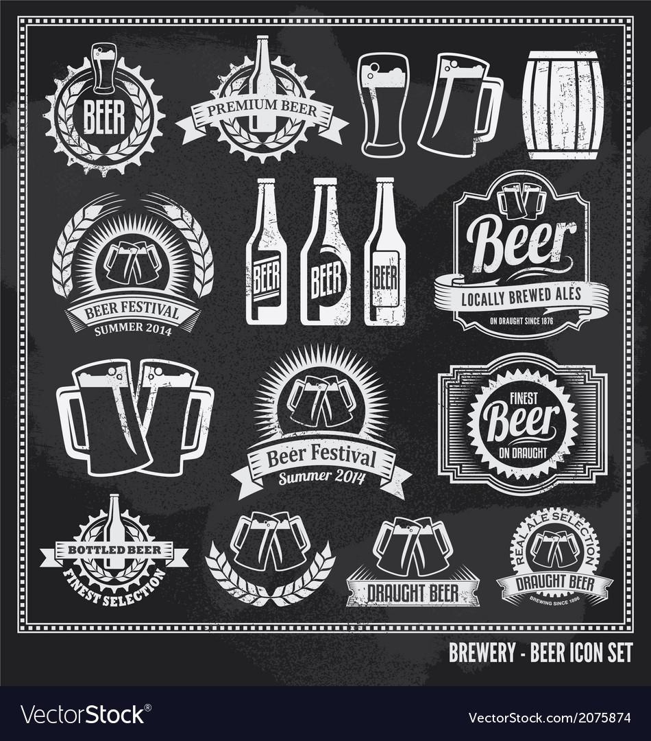 Beer chalkboard icon set vector