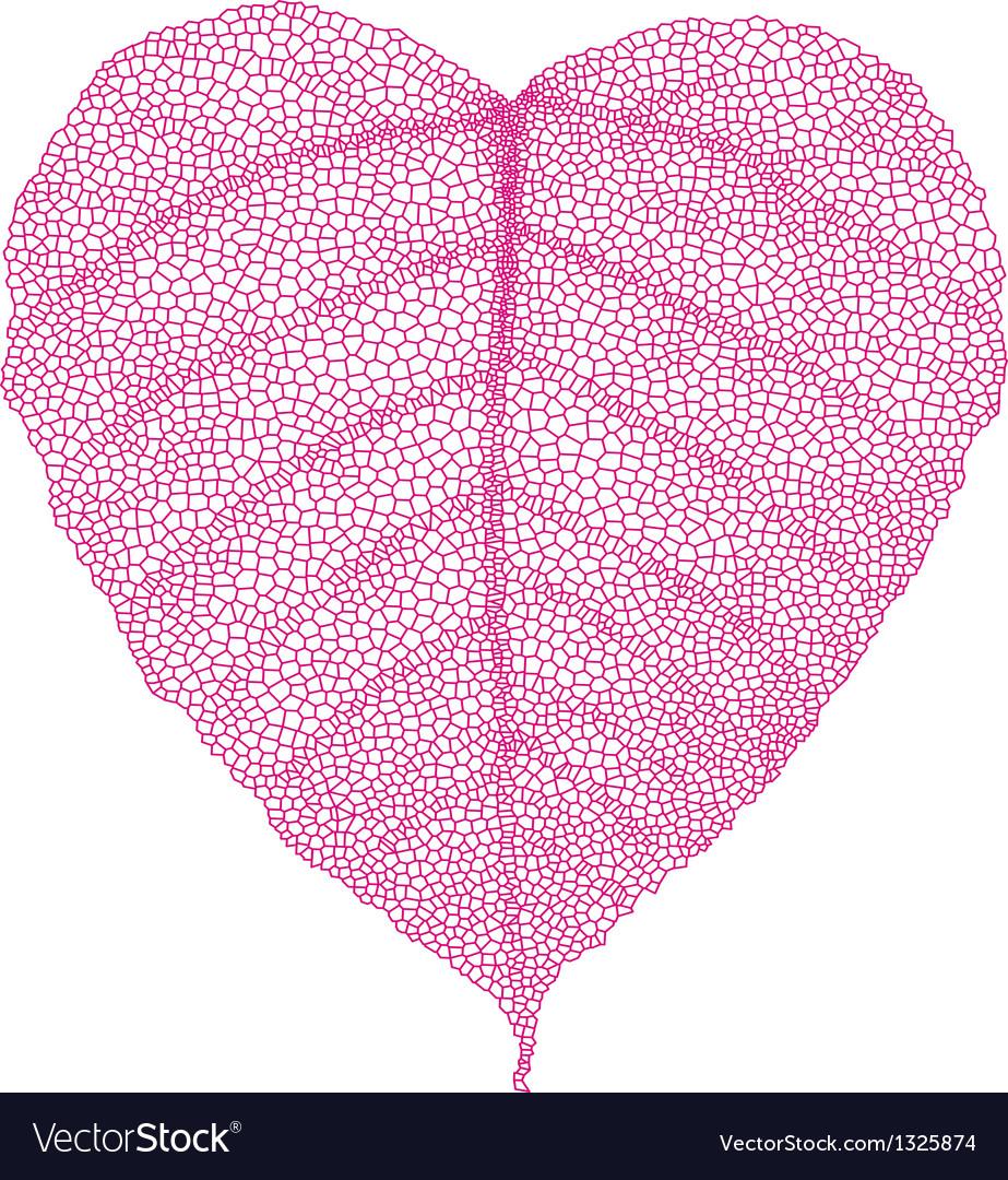 Red heart skeleton leaf vector