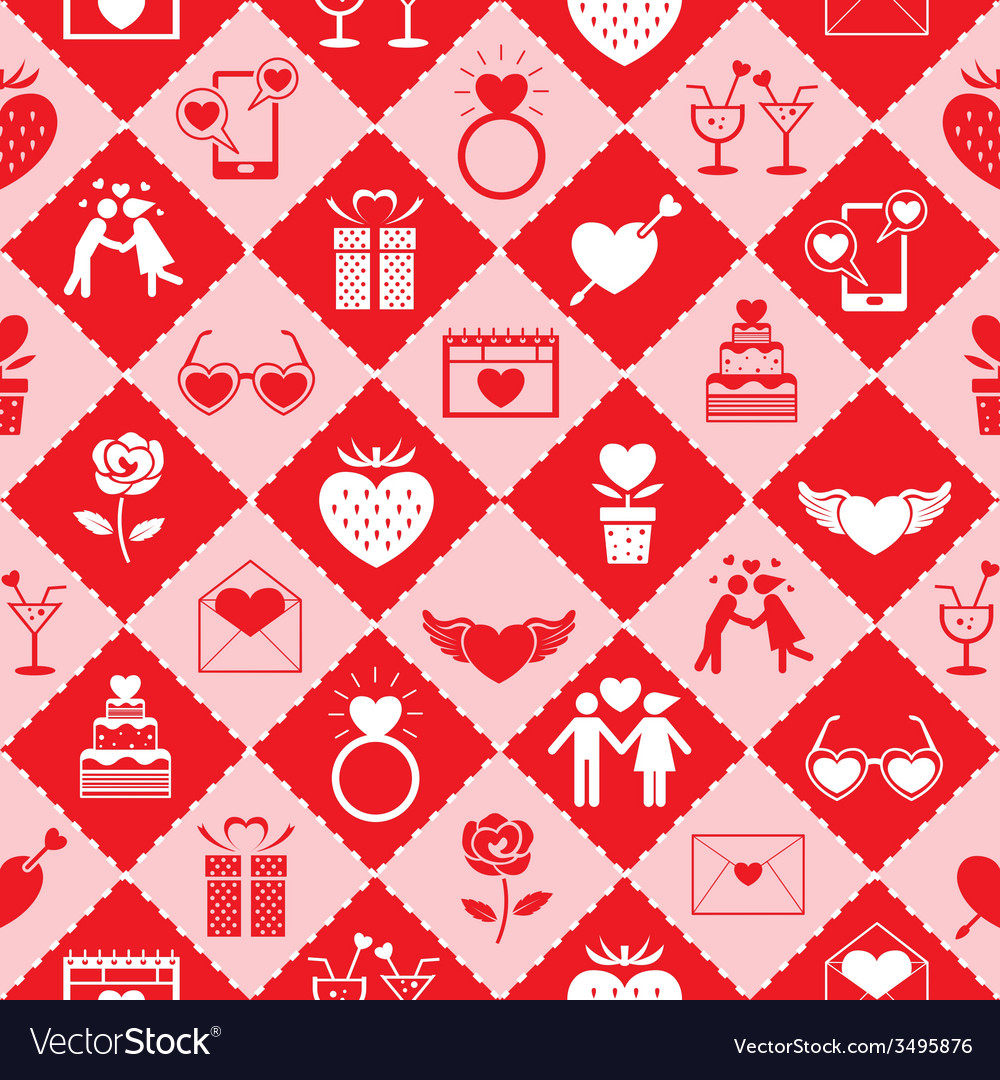 Love icons seamless pattern vector