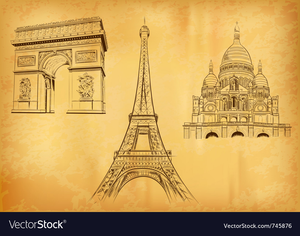 Paris symbols on the old paper vector