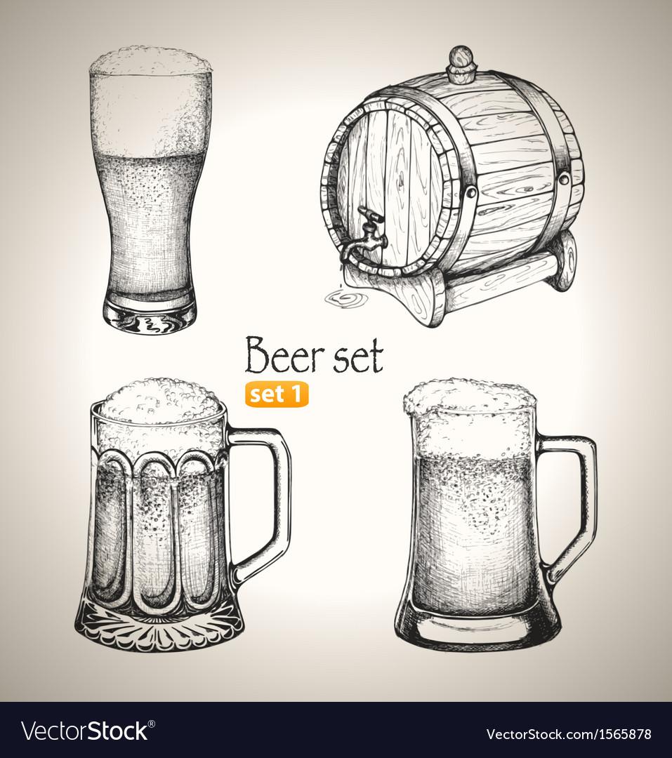 Beer oktoberfest set toby jugs and beer barrel vector