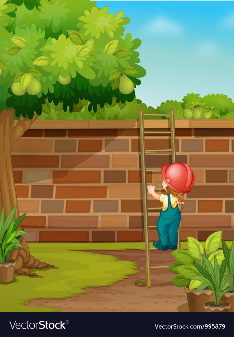 Cartoon worker climbing wall vector