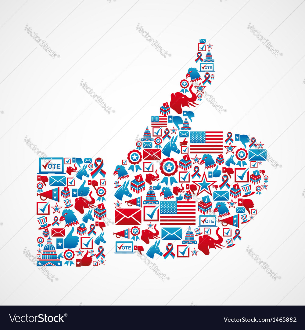 Usa elections thumb up vector