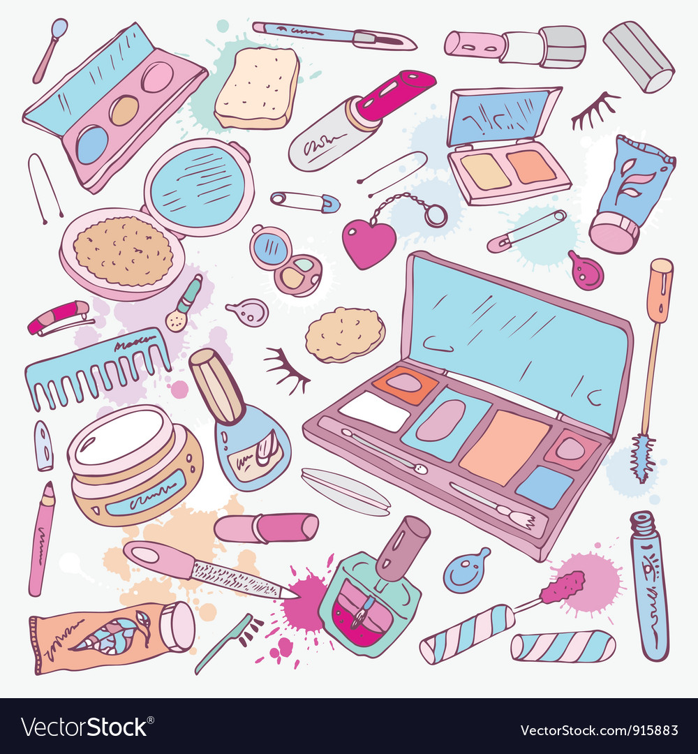 Products for makeup and beauty vector