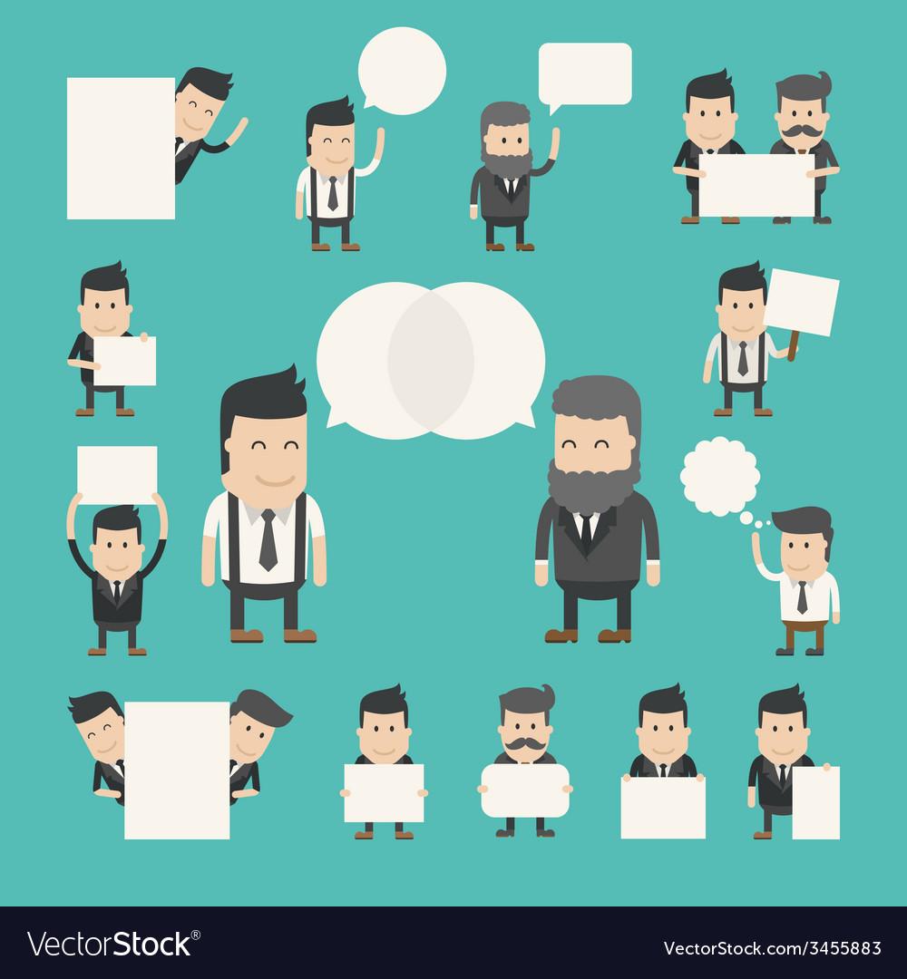 Set of businessman in conversation discuss debat vector