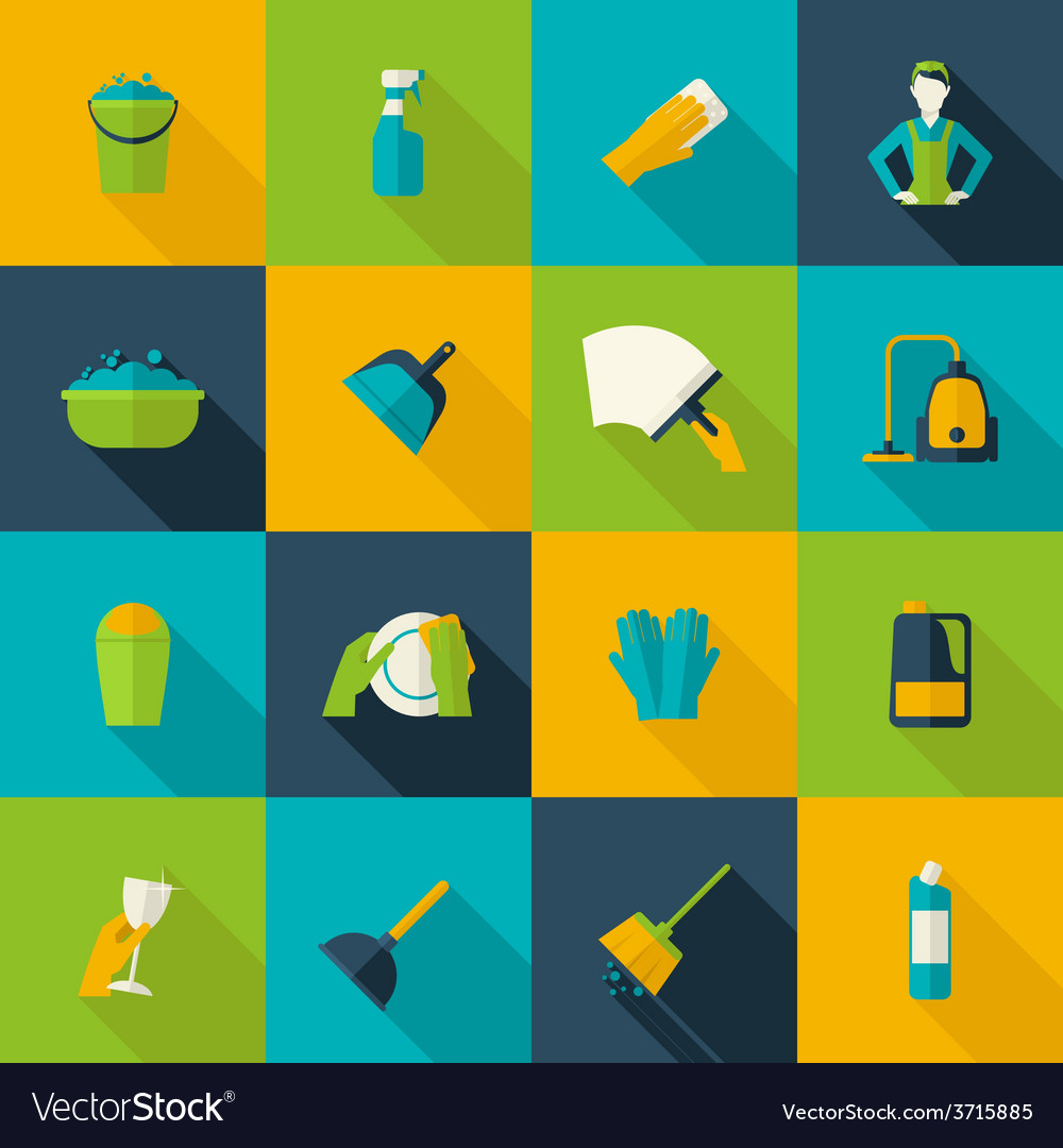 Cleaning icon flat vector