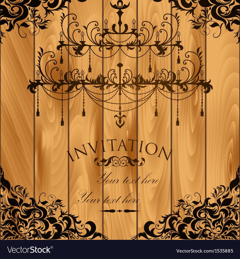 Luxury invitation with chandelier vector