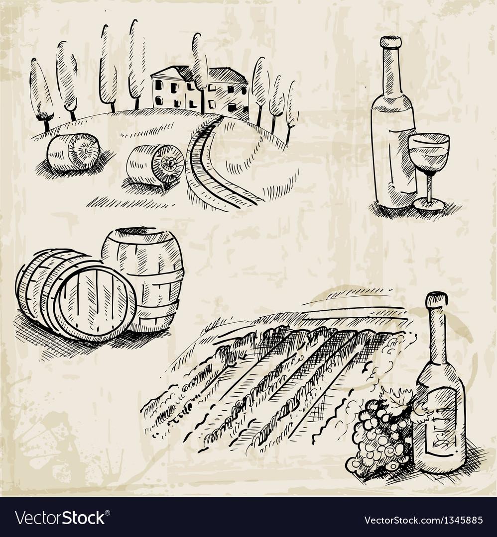Wine winemaking and vineyard vector