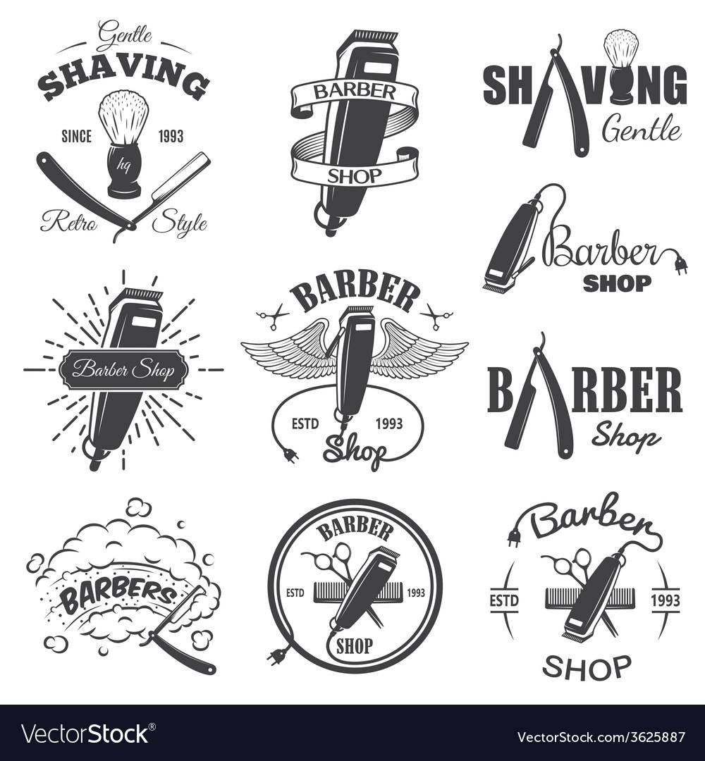 Second set of vintage barber shop emblems vector