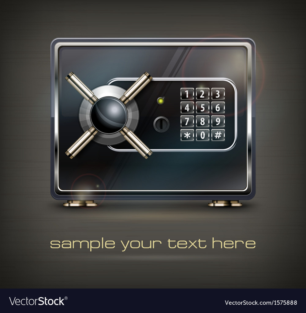 Metal safe isolated on black vector