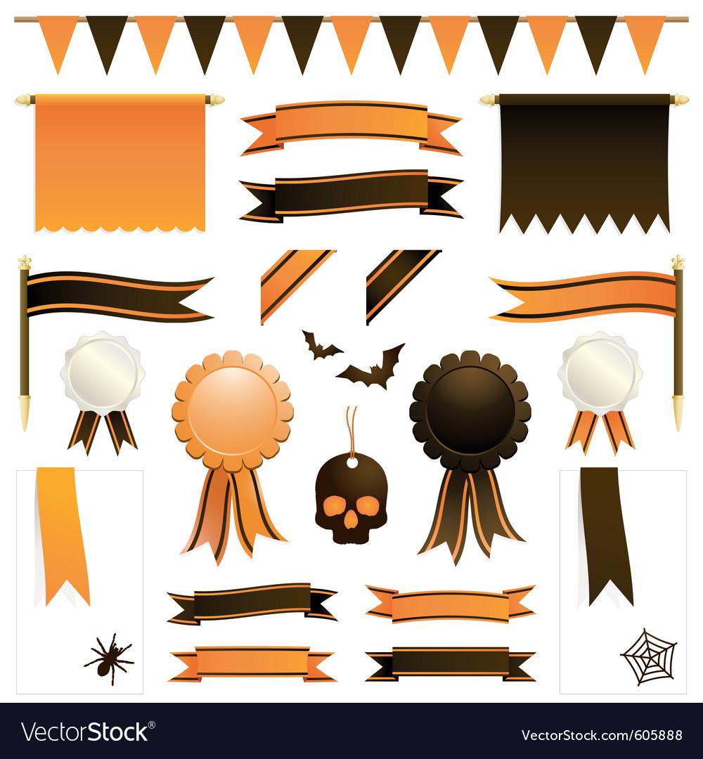 Orange and black ribbons vector