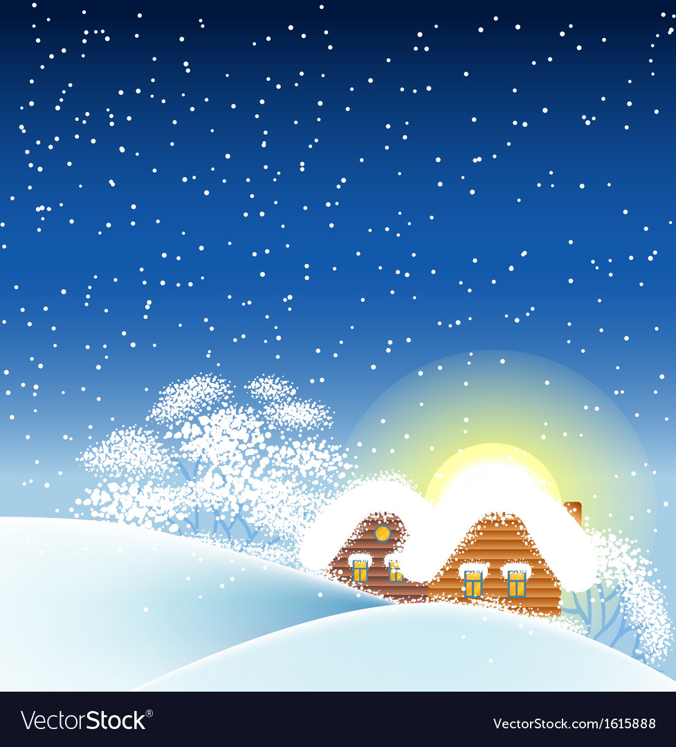 Winter landscape with houses vector