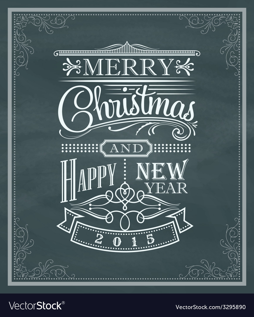 Christmas new year vintage label frame chalk board vector