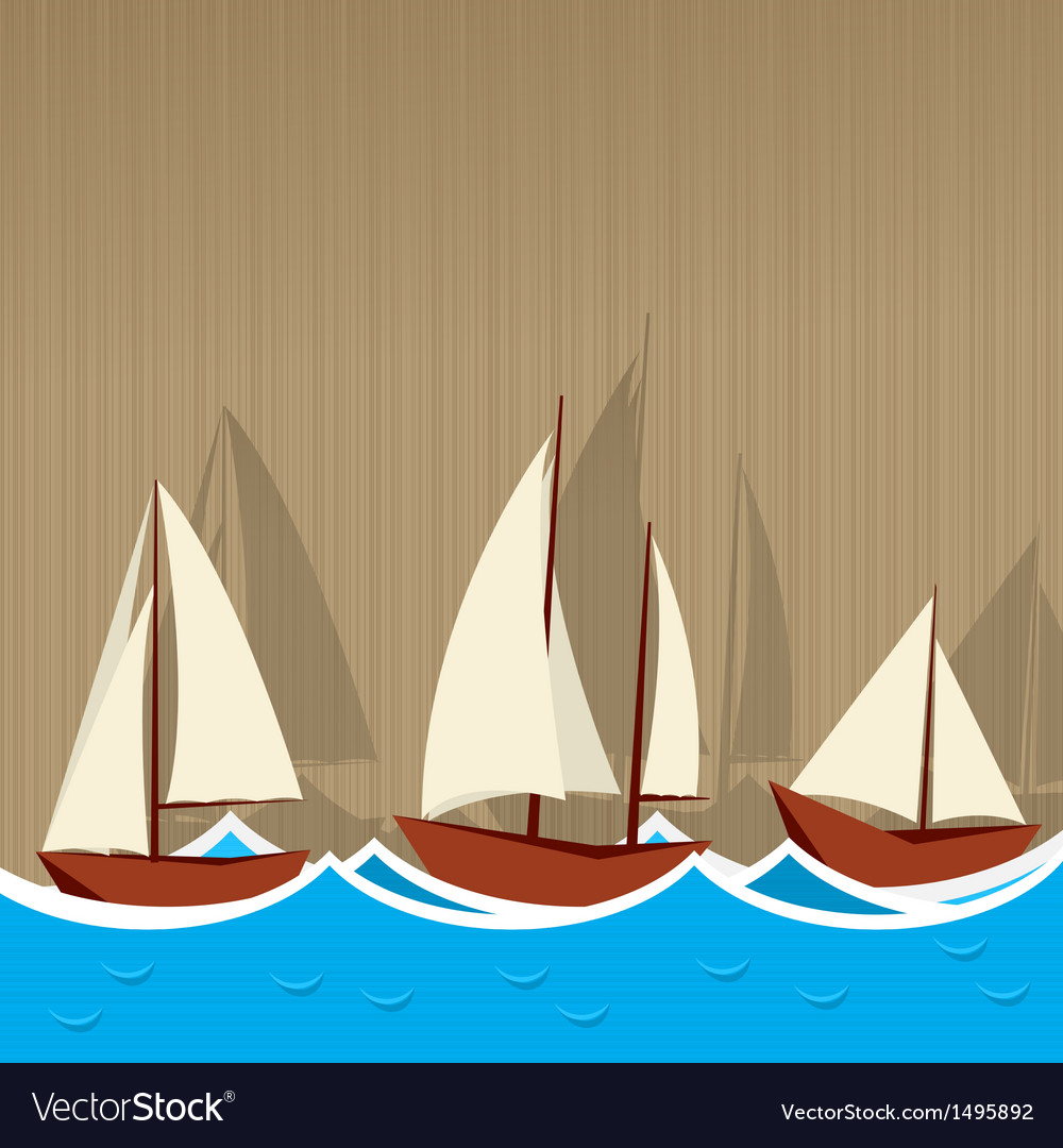 Sailing ships background vector