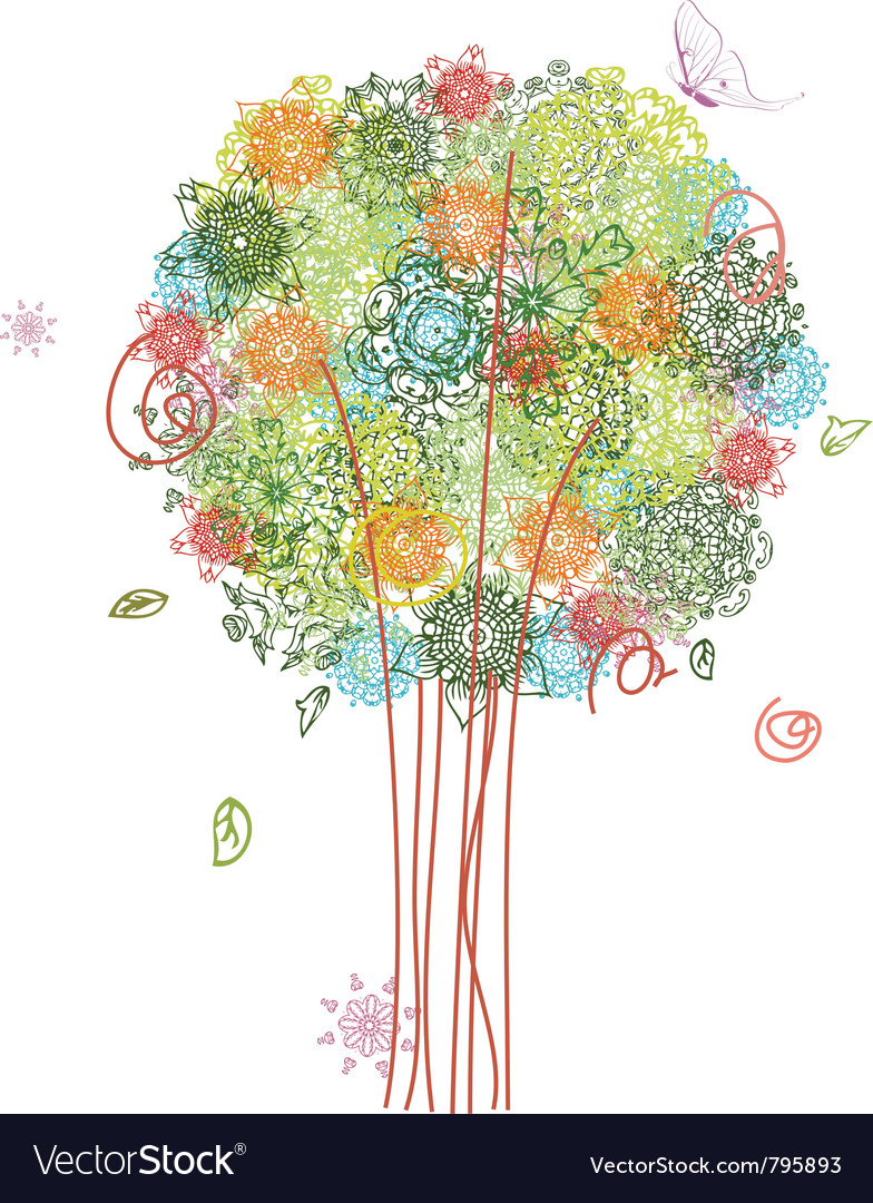 Abstract tree design with arabesques vector