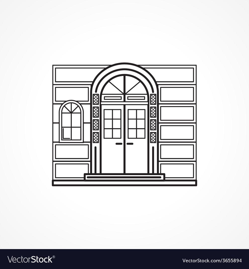 Facade arch door black line icon vector