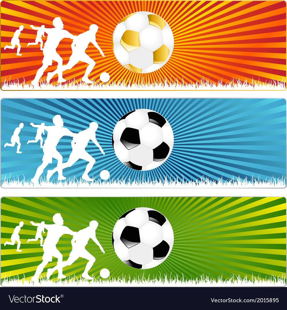 3 soccer ball or football banners vector