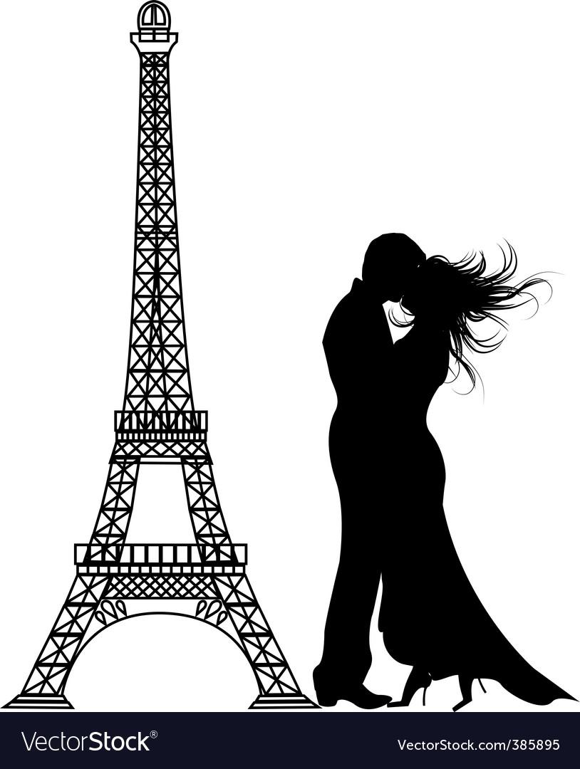 romance paris silhouette vector