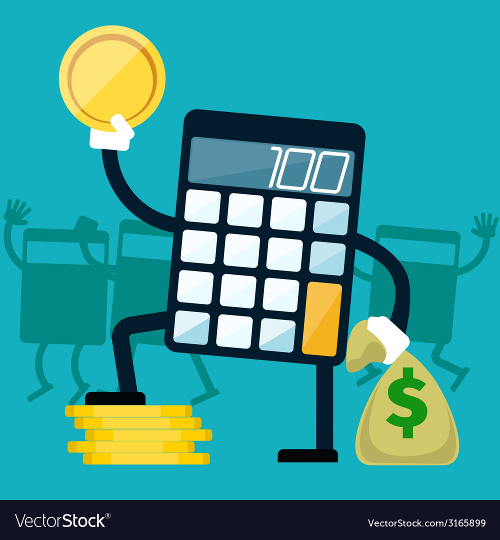 Calculator with golden coin in hand vector